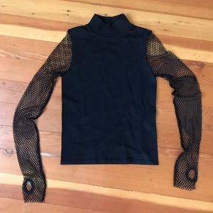 Zara turtleneck shirt with fishnets arm size S